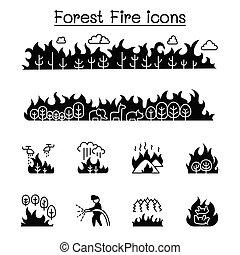 erdő, állhatatos, ikon, tervezés, grafikus, elbocsát, futótűz, vektor, ábra