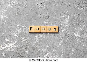 erdő, összpontosít, block., asztal, szó, fogalom, ír szöveg
