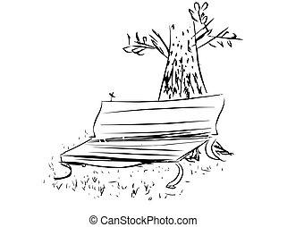 erdő, fa, liget, elhagyott, bírói szék, alatt