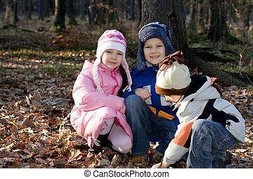 erdő, gyerekek