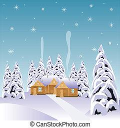 erdő, hó, falu