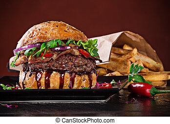 erdő, hamburger, finom