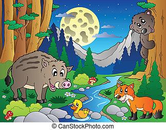 erdő, különféle, állatok, színhely, 4