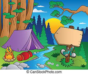 erdő, karikatúra, táj, 6