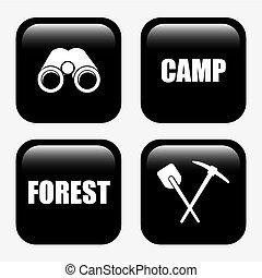 erdő, kempingezés, tervezés