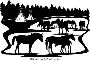 erdő, kicsapongó élet, csikó, -, ló, kanca, stencils, ló, körvonal, család, vektor