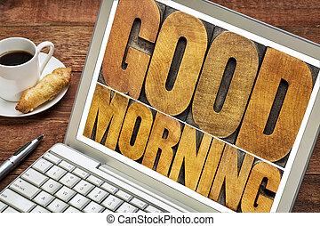 erdő, laptop, jó, gépel, reggel