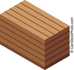 erdő, mód, doboz, ikon, isometric