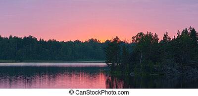erdő, napnyugta, tó, után