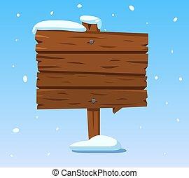 erdő, signpost., tél wooden, aláír, snow., vektor, ünnepek, karikatúra, karácsony