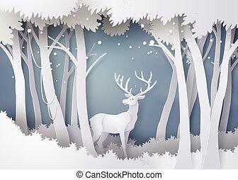erdő, snow., őz