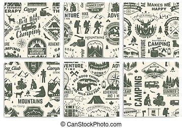 erdő, tervezés, természetjárás, nyári tábor, nyomdászat, sátor, motívum, tábortűz, kempingezés, rv, seamless, hegy, retro, háttér., kiránduló, silhouette., organizmusok, vector., kúszónövény, állhatatos