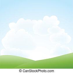 eredet, ég felhő, táj