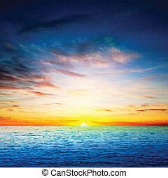 eredet, elvont, tenger, háttér, napkelte