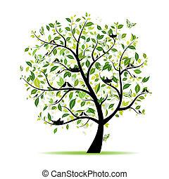 eredet, fa, -e, zöld, tervezés, madarak