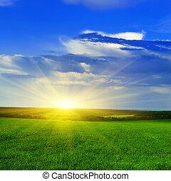eredet, felett, naplemente terep