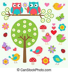 eredet, madarak, erdő, baglyok