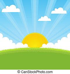 eredet, napfény, táj
