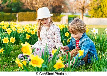 eredet, napos, játék, menstruáció, imádnivaló, gyerekek, nap, kedves