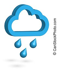 eredet, raindrops., weather., ősz, 3, icon., időjárás, felhő, esős, vektor, forecast.