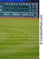 eredményjelző tábla, baseball, öreg idő, mező