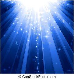 ereszkedő, fény, varázslatos, csillaggal díszít, lokátorral helyet határoz meg