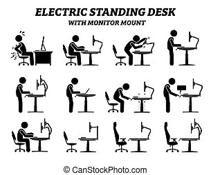 ergonomic, monitor, elektromos, álló, felmegy., íróasztal, asztal