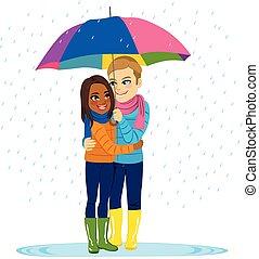 eső, párosít, romantikus