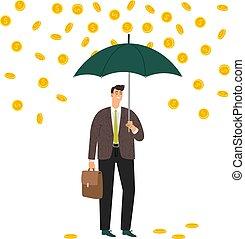 eső, pénz bábu, alatt