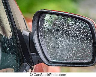 eső, tükör, autó, kilátás, fenék, savanyúcukorka, lejtő