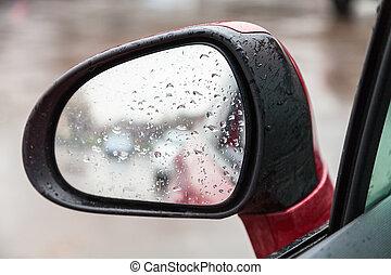 eső, tükör, esőcseppek, lejtő, hátsó kilátás