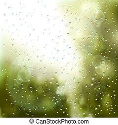 esőcseppek, ablak