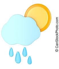 esőcseppek, felhő, nap