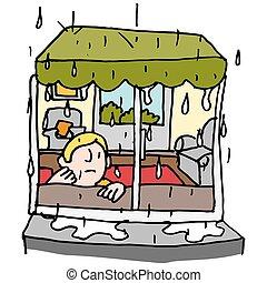 esős, ablak nap, bábu ül
