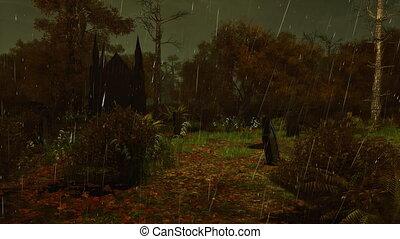 esős, elhagyatott, temető, sötét, 4k, éjszaka