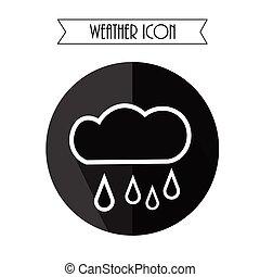 esős, illustration., csepp, eső, forecast., vektor, időjárás, icon., felhő