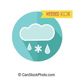 esős, illustration., hó, forecast., vektor, időjárás, icon., felhő