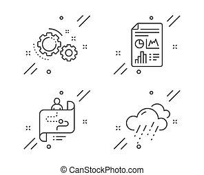 esős, vektor, ikonok, set., időjárás, fogaskerék-áttétel, jelent, út, dokumentum, cégtábla., utazás