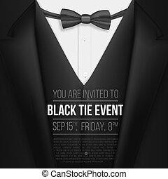 esemény, meghívás, mens, gyakorlatias, suit., vektor, black öltöny, csomó, íj, template.