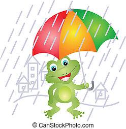 esernyő, béka, alatt