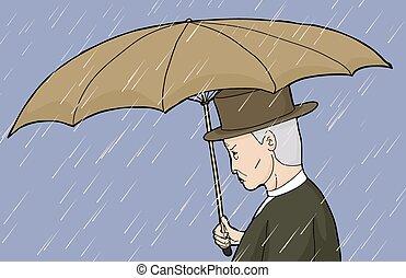 esernyő, birtok, eső, ember