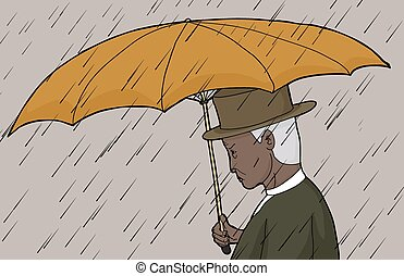 esernyő, birtok, megrohamoz, ember