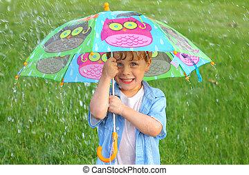 esernyő, eső, gyermek