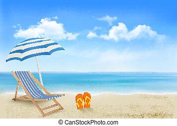 esernyő, fogalom, nyár, flip-flops., tengerpart, szünidő, háttér., vector., pár, szék, tengerpart, kilátás