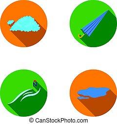 esernyő, ground., állhatatos, north sebesülés, tócsa, ikonok, web., mód, gyűjtés, vektor, lakás, ábra, időjárás, felhő, jelkép, részvény