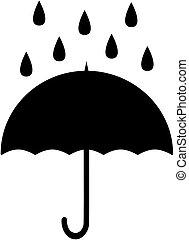esernyő, illustration., eső, silhouette., vektor, ikon