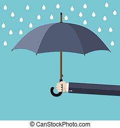 esernyő, kéz, rain., birtok, alatt, ember