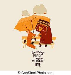 esernyő, karikatúra, alatt, állatok, olvasókönyv, furcsa