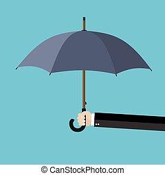 esernyő, kezezés kitart, üzletember