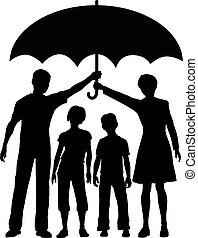 esernyő, kockáztat, család, szülők, birtok, biztonság, biztosítás